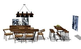 现代工业风餐桌椅吧台椅组合SU模型下载 现代工业风餐桌椅吧台椅组合SU模型下载