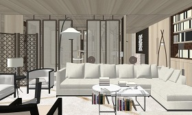 中式客厅餐厅书房室内设计SU模型下载 中式客厅餐厅书房室内设计SU模型下载