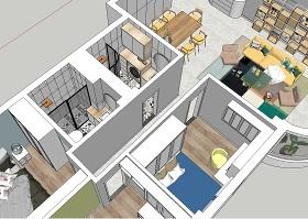 北欧风格三室一厅SU模型下载 北欧风格三室一厅SU模型下载