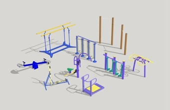 精品免费室外健身器材su模型下载 精品免费室外健身器材su模型下载