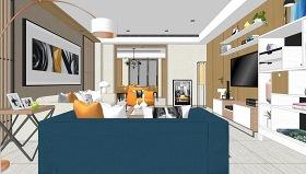 现代轻奢客厅餐厅室内设计SU模型下载 现代轻奢客厅餐厅室内设计SU模型下载