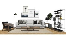 北欧风格客厅沙发茶几置物架组合SU模型下载 北欧风格客厅沙发茶几置物架组合SU模型下载