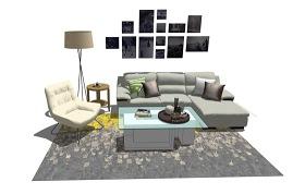 現代客廳沙發茶幾落地燈組合SU模型下載 現代客廳沙發茶幾落地燈組合SU模型下載