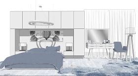 现代简约卧室 床软装组合SU模型下载 现代简约卧室 床软装组合SU模型下载