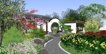 中式公园戏台景观设计su模型下载 中式公园戏台景观设计su模型下载