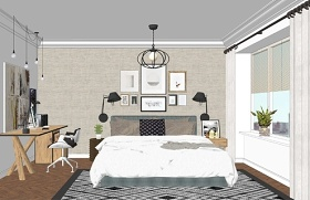 现代工业风卧室设计SU模型下载 现代工业风卧室设计SU模型下载