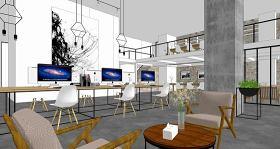 现代简约办公空间室内设计SU模型下载 现代简约办公空间室内设计SU模型下载