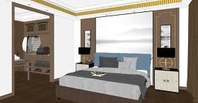 精品新中式卧室设计SU模型下载 精品新中式卧室设计SU模型下载