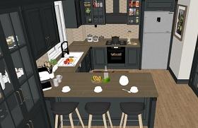 精品美式开放式厨房SU模型下载 精品美式开放式厨房SU模型下载