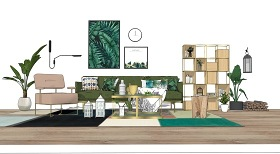 北歐風格客廳沙發茶幾置物架組合SU模型下載 北歐風格客廳沙發茶幾置物架組合SU模型下載