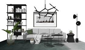 精品免费北欧风格客厅沙发茶几置物架吊灯组合SU模型下载 精品免费北欧风格客厅沙发茶几置物架吊灯组合SU模型下载