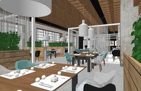 精品北欧风格生态餐厅SU模型下载 精品北欧风格生态餐厅SU模型下载