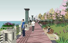 主题滨湖公园景观SU模型下载 主题滨湖公园景观SU模型下载