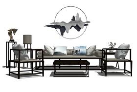 新中式客廳沙發茶幾吊燈組合SU模型下載 新中式客廳沙發茶幾吊燈組合SU模型下載
