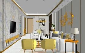 现代客厅餐厅室内设计SU模型下载 现代客厅餐厅室内设计SU模型下载