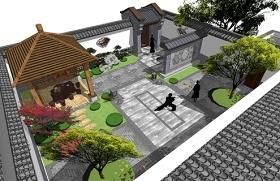 精品免费中式西北院子庭院景观SU模型下载 精品免费中式西北院子庭院景观SU模型下载