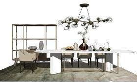 现代风格方餐桌餐具 家具软装 灯泡吊灯 置物架 组合SU模型