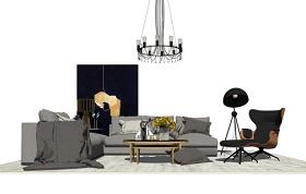 精品免费现代轻奢客厅家具组合SU模型下载 精品免费现代轻奢客厅家具组合SU模型下载