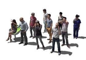 精品免费3D商业人物SU模型下载 精品免费3D商业人物SU模型下载