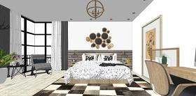 精品免费北欧风格混搭卧室su模型下载 精品免费北欧风格混搭卧室su模型下载
