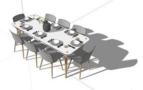 现代餐桌椅 多人SU模型下载 现代餐桌椅 多人SU模型下载