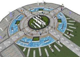 中式圆形广场景观SU模型下载 中式圆形广场景观SU模型下载