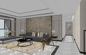 新中式客厅餐厅茶室室内设计SU模型下载 新中式客厅餐厅茶室室内设计SU模型下载