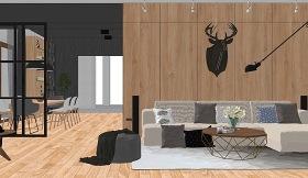 北欧风格客厅餐厅室内设计SU模型下载 北欧风格客厅餐厅室内设计SU模型下载