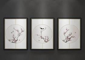 新中式梅花挂画装饰画3D模型下载 新中式梅花挂画装饰画3D模型下载