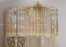 欧式铁艺雕花大门组合3D模型下载 欧式铁艺雕花大门组合3D模型下载
