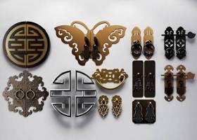 中式雕花铜门把手拉手组合3D模型下载 中式雕花铜门把手拉手组合3D模型下载