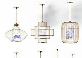 新中式青花瓷金屬吊燈組合3D模型下載 新中式青花瓷金屬吊燈組合3D模型下載