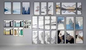 新中式山水装饰画组合3D模型下载 新中式山水装饰画组合3D模型下载