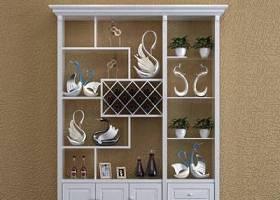 現代實木酒柜擺件組合3D模型下載 現代實木酒柜擺件組合3D模型下載