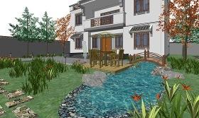 中式庭院景观SU模型下载 中式庭院景观SU模型下载