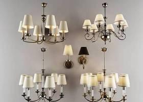 美式金屬吊燈壁燈組合3D模型下載 美式金屬吊燈壁燈組合3D模型下載