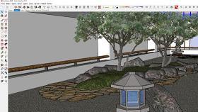 中式风格庭院SU模型下载 中式风格庭院SU模型下载