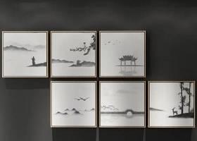 新中式禪意裝飾畫組合3D模型下載 新中式禪意裝飾畫組合3D模型下載