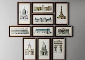 美式建筑装饰画组合3D模型下载 美式建筑装饰画组合3D模型下载