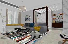 北欧风格客厅室内设计SU模型下载 北欧风格客厅室内设计SU模型下载