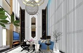精品免费奢华客餐厅室内设计SU模型下载 精品免费奢华客餐厅室内设计SU模型下载