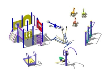 精品免费儿童娱乐设施户外健身器材组合SU模型下载 精品免费儿童娱乐设施户外健身器材组合SU模型下载