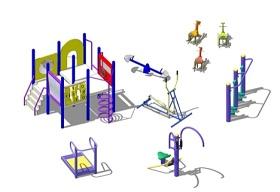 精品免費兒童娛樂設施戶外健身器材組合SU模型下載 精品免費兒童娛樂設施戶外健身器材組合SU模型下載