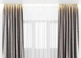 现代布艺双层窗帘3D模型下载 现代布艺双层窗帘3D模型下载