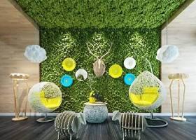 现代吊椅绿植墙落地灯鹿头挂件组合3D模型下载 现代吊椅绿植墙落地灯鹿头挂件组合3D模型下载