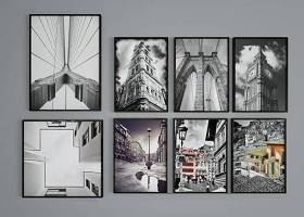 现代黑白建筑装饰画组合3D模型下载 现代黑白建筑装饰画组合3D模型下载