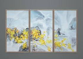 新中式手绘风景装饰画组合3D模型下载 新中式手绘风景装饰画组合3D模型下载