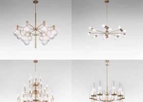 現代奢華金屬吊燈組合3D模型下載 現代奢華金屬吊燈組合3D模型下載
