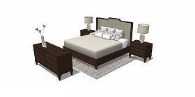 新中式臥室雙人床床頭柜組合SU模型下載 新中式臥室雙人床床頭柜組合SU模型下載