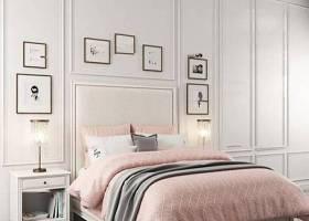 簡歐布藝雙人床床頭柜臺燈裝飾畫組合3D模型下載 簡歐布藝雙人床床頭柜臺燈裝飾畫組合3D模型下載